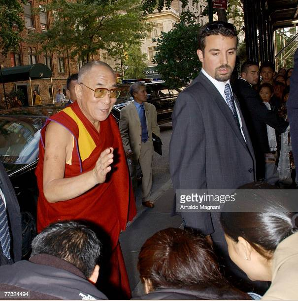 The Dalai Lama arrives at an upper east side hotel on October 14 2007 in New York City HIs Holiness is visiting New York before leaving to Washington...