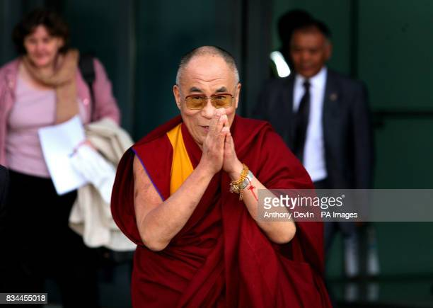 The Dalai Lama arrives at Heathrow airport London to begin his eleven day visit to Britain