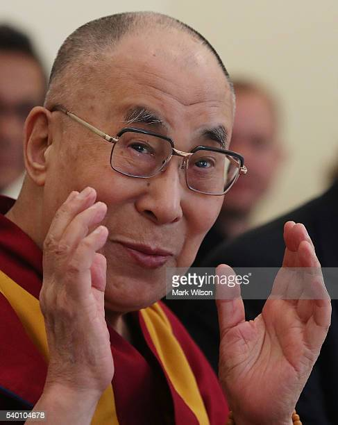 The Dalai Lama attends a meeting hosted by House Minority Leader Nancy Pelosi at the US Capitol June 14 2016 in Washington DC