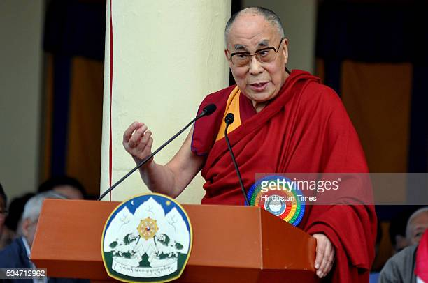 The Dalai Lama delivers his speech during swearingin ceremony of Tibetan Prime Minister inexile Lobsang Sangay at the Tsuglagkhang Temple on May 27...