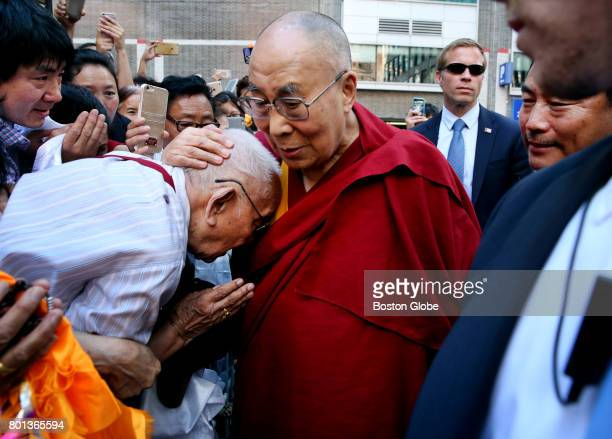 The Dalai Lama greets Jampa Phunkhang of Medford after arriving at the Hyatt Regency Boston on Jun 24 2017 Phunkhang worked with the Dalai Lama as a...