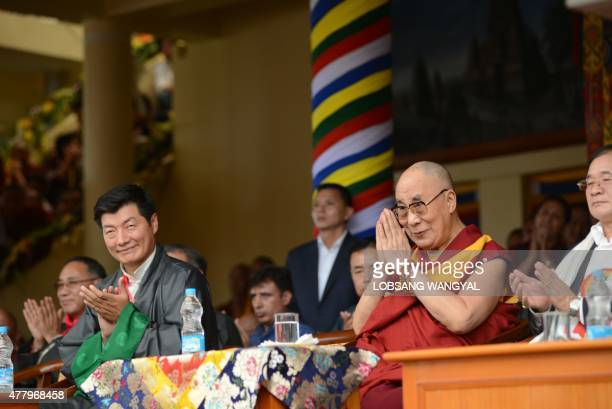 The Dalai Lama greets thousands of his followers at his 80th birthday celebrations at Tsuglakhang temple in McLeod Ganj on 21 June 2015 as Sikyong...