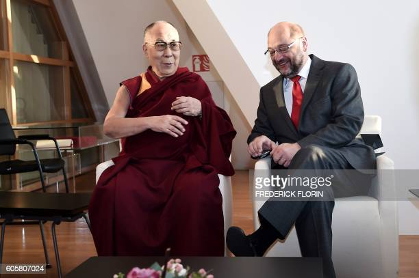 The Dalai Lama is welcomed by European Parliament President Martin Schulz as part of his visit at the European Parliament in Strasbourg eastern...