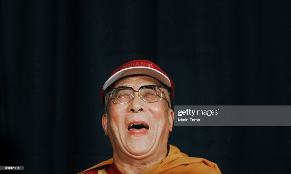 The Dalai Lama laughs during a press conference at Radio City Music Hall during a break between teachings May 20, 2010 in New York City. The Tibetan spiritual leader will deliver three days of teachings at Radio City followed by an interfaith dialogue at the Church of St. John the Divine on Sunday.