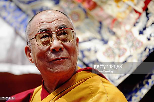 The Dalai Lama looks on during his Buddhist blessing White Tara Long Life Empowerment at Geelong Arena June 11 2007 in Melbourne Australia The Dalai...