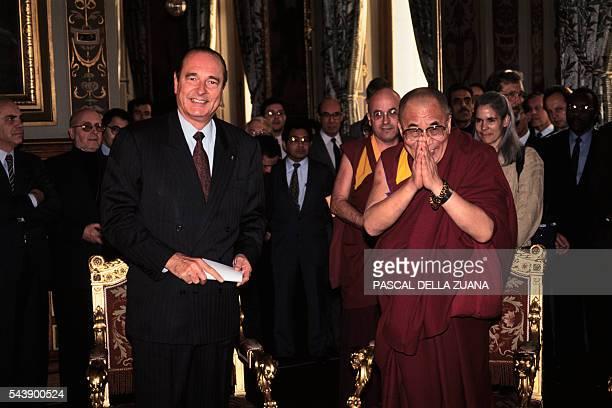 The Dalai Lama meets Paris Mayor Jacques Chirac during his official visit to France