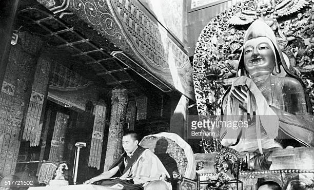 The Dalai Lama of Tibet currently visiting Red China is shown as he lectured on buddhist classics to Lamas and buddhist monks and laity in the Lama...