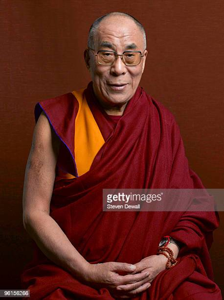 The Dalai Lama poses for a studio portrait in 2008 in Seattle Washington