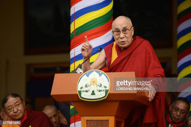The Dalai Lama speaks at an event to celebrate his 80th birthday at Tsuglakhang temple in McLeod Ganj on June 21 2015 The Dalai Lama marked his...