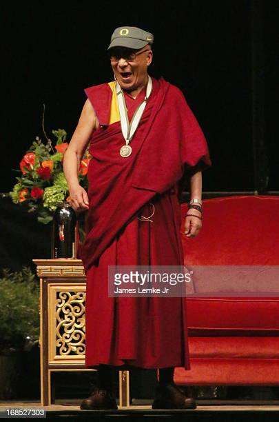 The Dalai Lama speaks at the University of Oregon's Matthew Knight Arena on May 10 2013 in Eugene Oregon