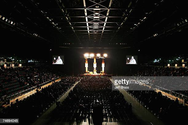 The Dalai Lama speaks at the Vector Arena on June 18 2007 in Auckland New Zealand His Holiness the 14th Dalai Lama of Tibet spiritual leader to...