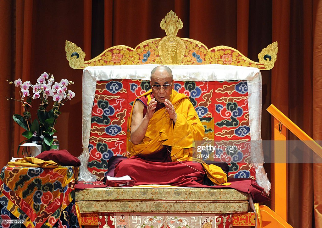 The Dalai Lama speaks during the first of his teaching sessions May 20, 2010 at Radio City Hall in New York. The Dalai Lama is on a four-day visit to New York. AFP PHOTO/Stan Honda