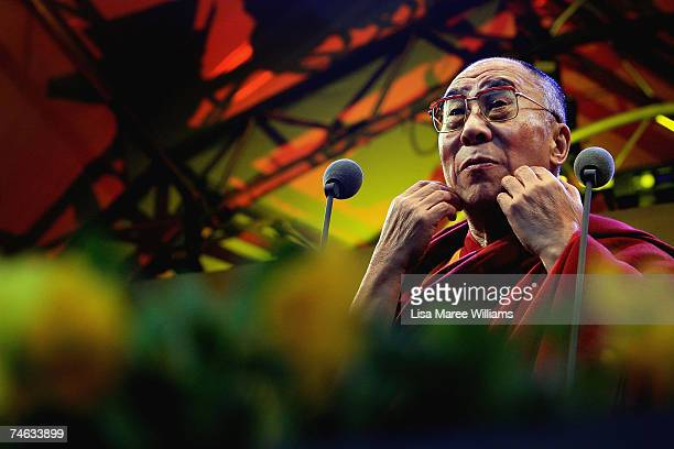 The Dalai Lama speaks to large crowds at the Domain on June 15 2007 in Sydney Australia The Dalai Lama spiritual leader of Tibet and millions of...
