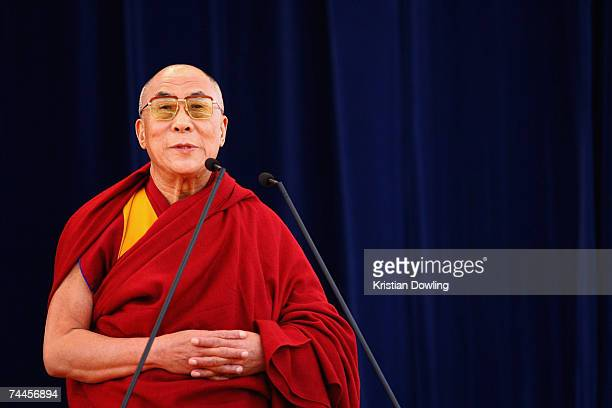 The Dalai Lama talks during a free public talk about Universal Responsibility at MC Labour Park June 9 2007 in Melbourne Australia The Dalai Lama...