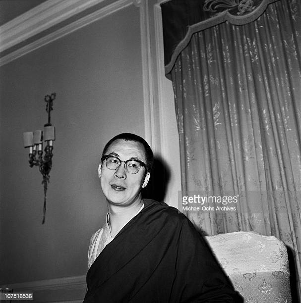 The Dalai Lama the traditional religious and temporal head of Tibet's Buddhist clergy poses for a photo in October 1967 in India