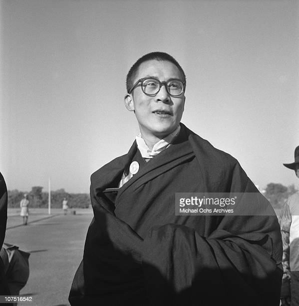 The Dalai Lama the traditional religious and temporal head of Tibet's Buddhist clergy poses for a photo circa 1965 in India