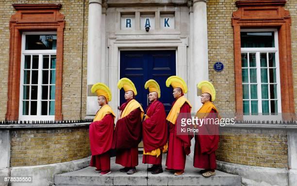 The Dalai Lama's Gyuto Monks at Rak studios recording an album ahead of their 'Open Minds Loving Heart Tour' on November 21 2017 in London England