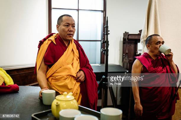 The Dalai Lama's Gyuto Monks chanting in Rak studios recording an album ahead of their 'Open Minds Loving Heart Tour' on November 21 2017 in London...