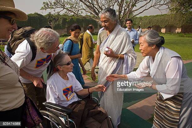 The Dalai Lamas Sister Greets Participants During A Prayer For World Peace Sponsored By The14Th Dalai Lama Of Tibet At The Raj Ghat Ghandis Eternal...