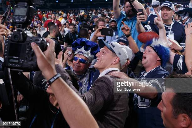 The Dallas Cowboys 1st round selection Boise State Linebacker Leighton Vander Esch poses with fans after being selected nineteenth overall during the...