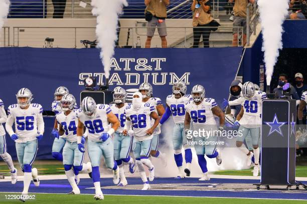 The Dallas Cowboys are introduced prior to the NFL game between the New York Giants and Dallas Cowboys on October 11, 2020 at AT&T Stadium in...