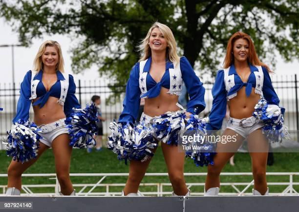 The Dallas Cowboys Cheerleaders perfom near the finish line during the Toyota Rock 'N' Roll Dallas Half Marathon on March 25 2018 in Dallas Texas