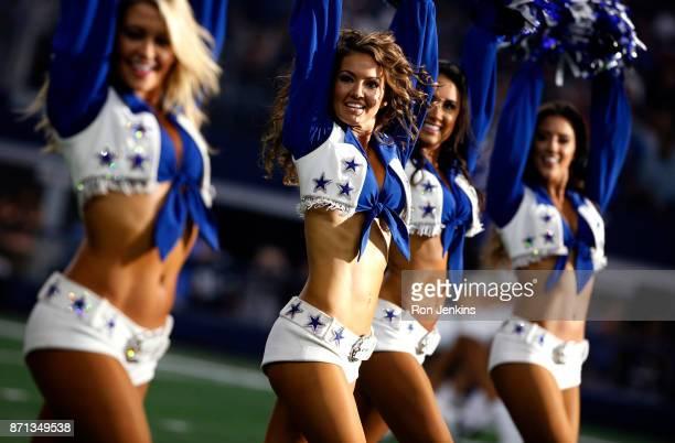 The Dallas Cowboys Cheerleaders perform as the Cowboys play the Kansas City Chiefs at ATT Stadium on November 5 2017 in Arlington Texas