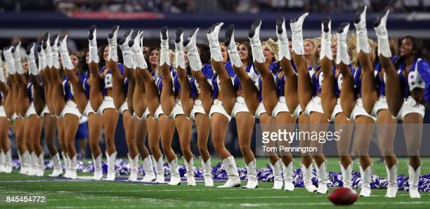 The Dallas Cowboys Cheerleaders perform before the Dallas Cowboys take on the New York Giants at ATT Stadium on September 10 2017 in Arlington Texas