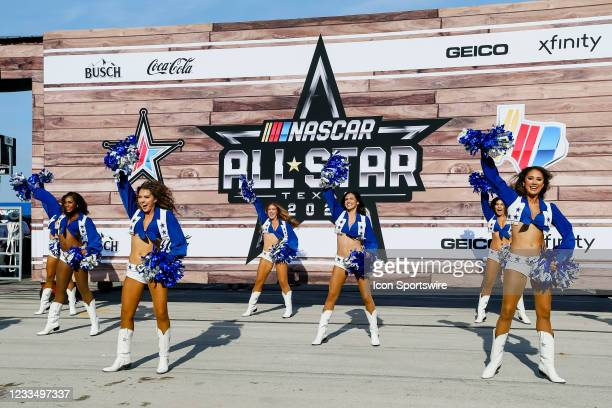 The Dallas Cowboys Cheerleaders perform before the NASCAR Cup Series All-Star race on June 13, 2021 at Texas Motor Speedway in Fort Worth, Texas.