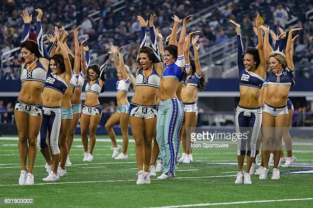 The Dallas Cowboys Cheerleaders perform during halftime at the game between the Dallas Cowboys and the Green Bay Packers on January 15 2017 at ATT...