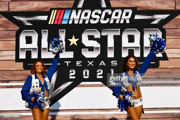 The Dallas Cowboys cheerleaders perform during pre-race ceremonies prior to the NASCAR All-Star Race at Texas Motor Speedway on June 13, 2021 in Fort...
