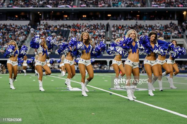 The Dallas Cowboys Cheerleaders perform during the game between the Dallas Cowboys and the Miami Dolphins on September 22 2019 at ATT Stadium in...