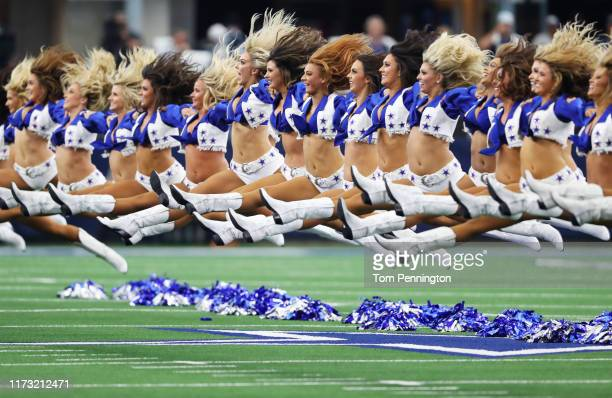 The Dallas Cowboys cheerleaders perform during the game between the New York Giants and the Dallas Cowboys at ATT Stadium on September 08 2019 in...