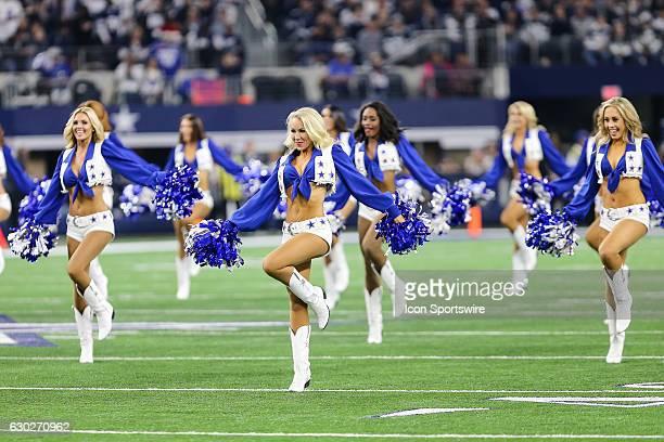 The Dallas Cowboys Cheerleaders perform during the game between the Dallas Cowboys and the Tampa Bay Buccaneers on December 18 2016 at ATT Stadium in...