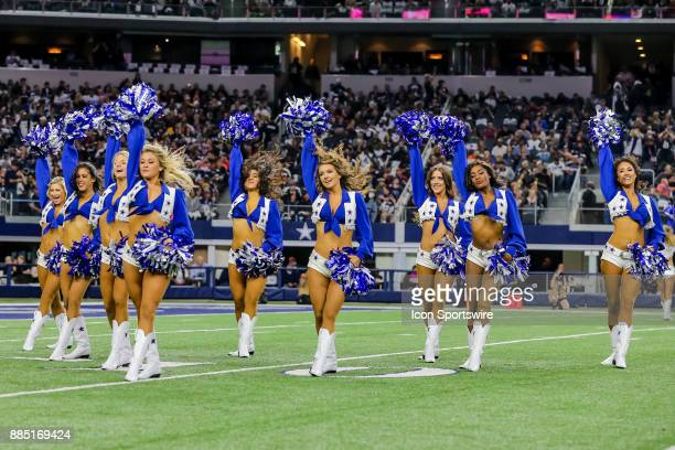 The Dallas Cowboys Cheerleaders perform during the game between the Dallas Cowboys and the Washington Redskins on November 30 2017 at the ATT Stadium...