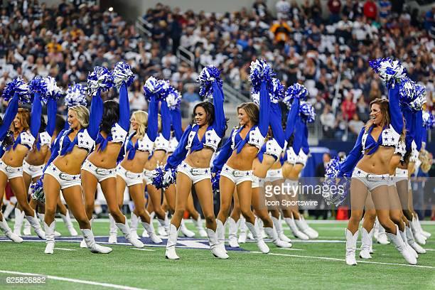 The Dallas Cowboys Cheerleaders perform during the NFL game between the Dallas Cowboys and the Washington Redskins on November 24 2016 at ATT Stadium...