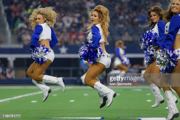 The Dallas Cowboys Cheerleaders perform during the preseason game between the Tampa Bay Buccaneers and Dallas Cowboys on August 29 2019 at ATT...
