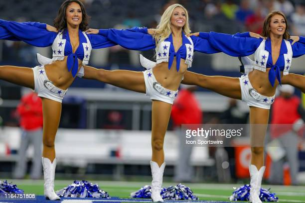 The Dallas Cowboys Cheerleaders perform during the preseason game between the Tampa Bay Buccaneers and Dallas Cowboys on August 29, 2019 at AT&T...