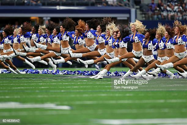 The Dallas Cowboys cheerleaders perform on the field prior to the game against the Baltimore Ravens at ATT Stadium on November 20 2016 in Arlington...