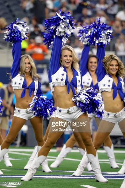 The Dallas Cowboys Cheerleaders perform prior to the game between the Detroit Lions and Dallas Cowboys on September 30, 2018 at AT&T Stadium in...