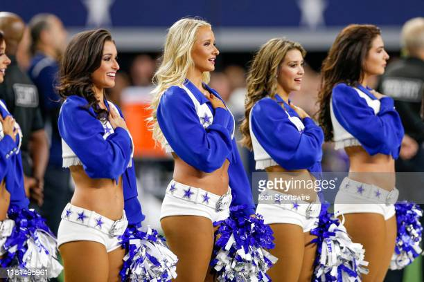 The Dallas Cowboys Cheerleaders stand for the national anthem prior to the game between the Minnesota Vikings and Dallas Cowboys on November 10, 2019...
