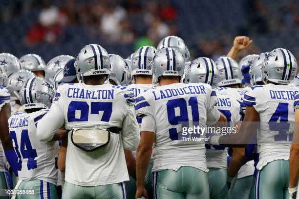 The Dallas Cowboys huddle before the preseason game against the Houston Texans at NRG Stadium on August 30 2018 in Houston Texas