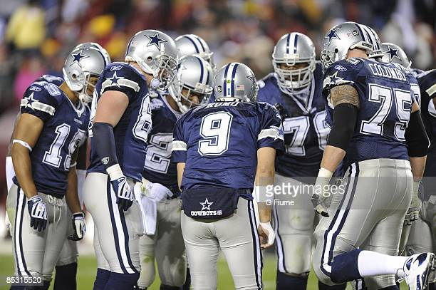 The Dallas Cowboys huddle during the game against the Washington Redskins on November 16, 2008 at FedEx Field in Landover, Maryland.