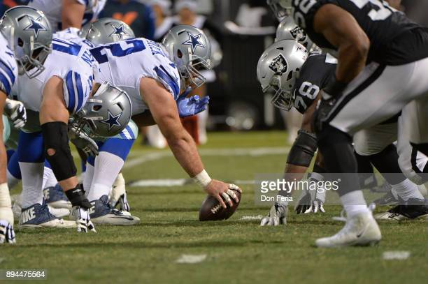 The Dallas Cowboys line up against the Oakland Raiders during their NFL game at OaklandAlameda County Coliseum on December 17 2017 in Oakland...