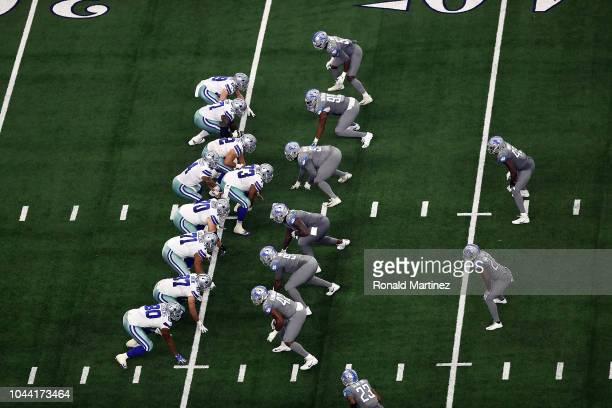 The Dallas Cowboys on offense against the Detroit Lions defense at ATT Stadium on September 30 2018 in Arlington Texas