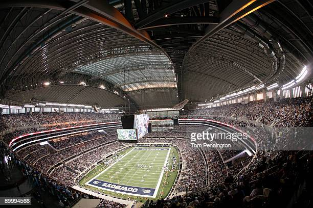 The Dallas Cowboys take on the Tennessee Titans in the second quarter during a preseason game at Cowboys Stadium on August 21, 2009 in Arlington,...