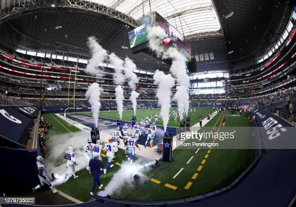 The Dallas Cowboys take the field prior to the game against the New York Giants at AT&T Stadium on October 11, 2020 in Arlington, Texas.