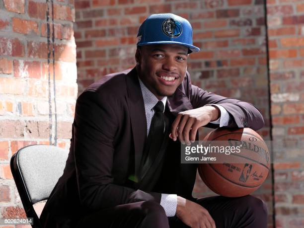 The Dallas Mavericks 2017 draft pick Dennis Smith Jr poses for a portrait after a press conference on June 23 2017 at American Airlines Center in...