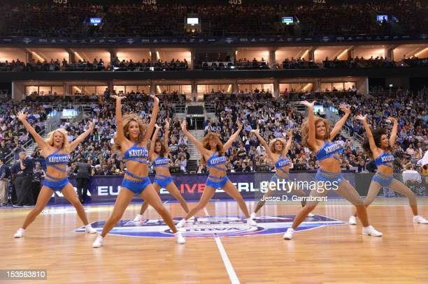 The Dallas Mavericks cheerleaders perform during the game between the Dallas Mavericks and the Alba Berlin at the O2 Arena for NBA Europe Live 2012...