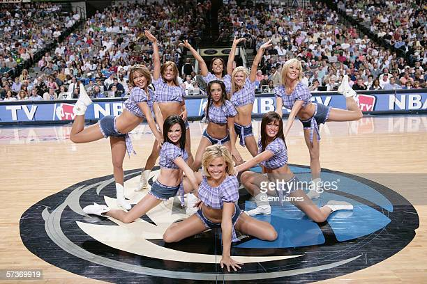 The Dallas Mavericks cheerleaders perform during the game with the Denver Nuggets at American Airlines Arena on April 2 2006 in Dallas Texas The...